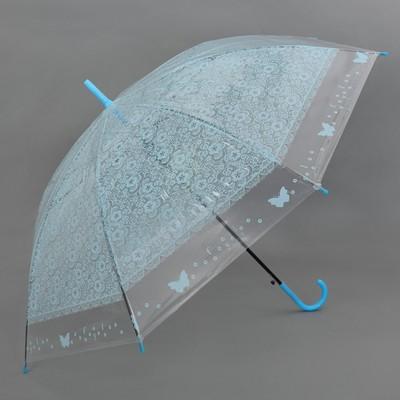 """Зонт полуавтоматический """"Кружево"""", трость, R=46см, цвет голубой"""