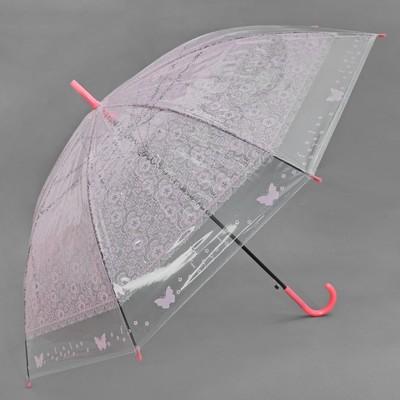 """Зонт-трость """"Кружево"""", полуавтоматический, R=46см, цвет розовый"""