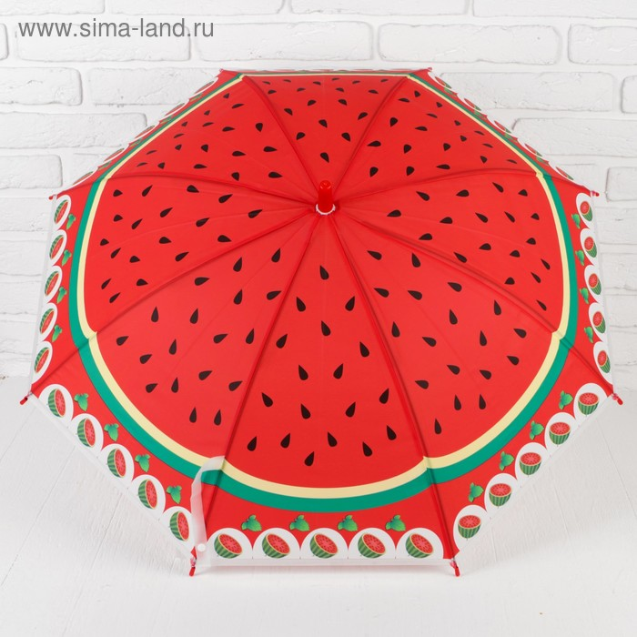 "The umbrella-cane ""Melon"", semi-automatic, with a whistle, R=41.5 cm, color red"