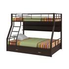 """Двухъярусная кровать """"Гранада 1"""", с полкой и ящиком 1980х1260х1620 мм, коричневый"""