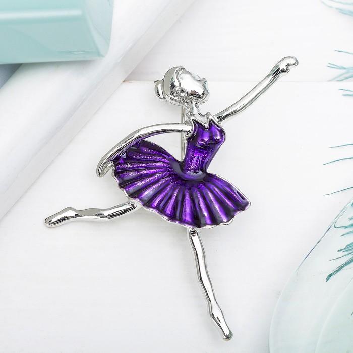 """Брошь спортивная """"Балерина"""" в танце, цвет фиолетовый в серебре"""