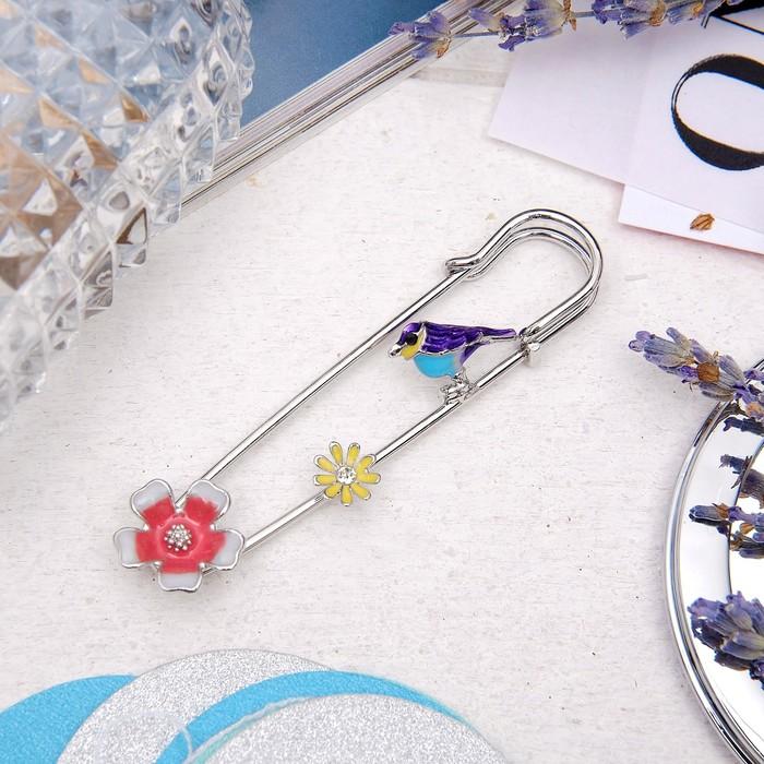 """Булавка """"Соловей"""", 6 см, цветная в серебре - фото 329126062"""
