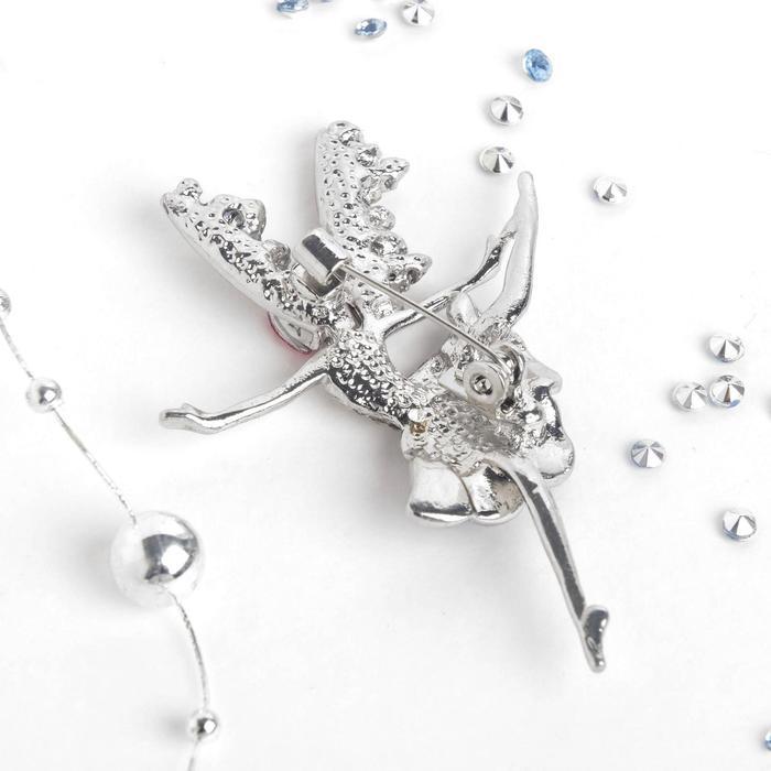 """Брошь """"Дюймовочка"""", цвет бело-синий в серебре - фото 542125250"""