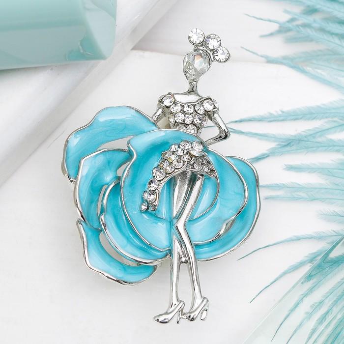 """Брошь """"Балерина"""" роза, цвет бело-голубой в серебре"""