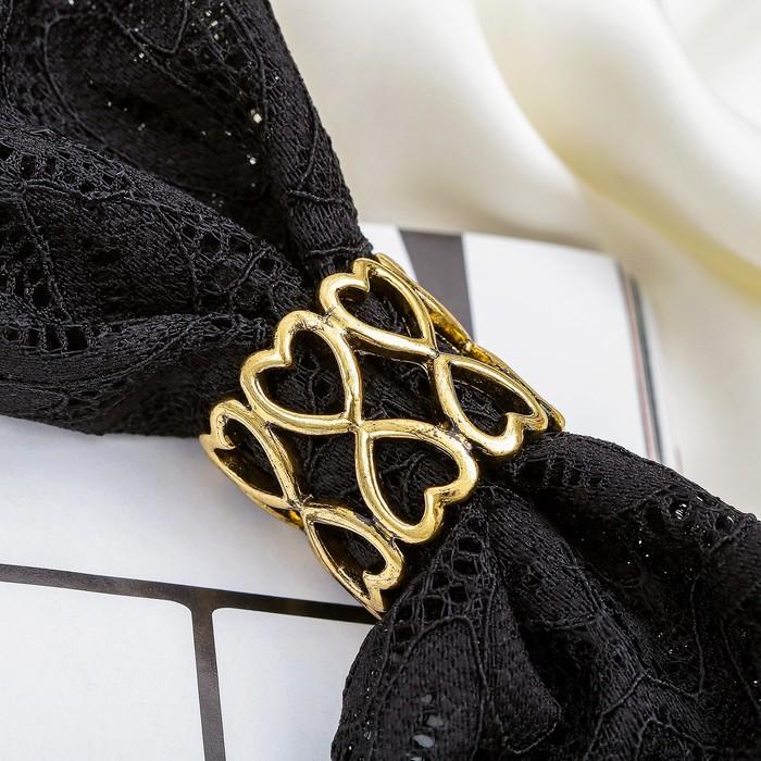 """Муфта для платка """"Сердечки"""", цвет золото"""