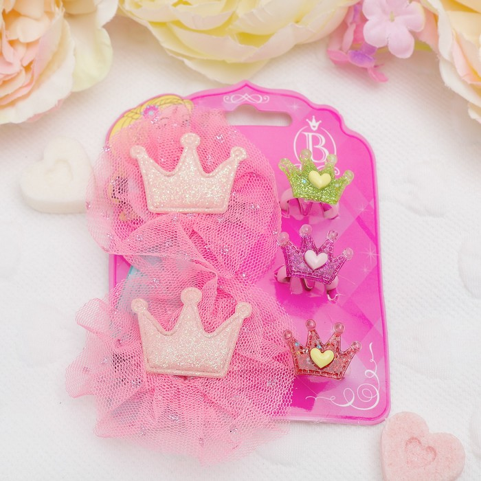 """Набор детский """"Выбражулька"""" 5 предметов: 2 заколки, 3 кольца, корона, цвет МИКС - фото 408656689"""