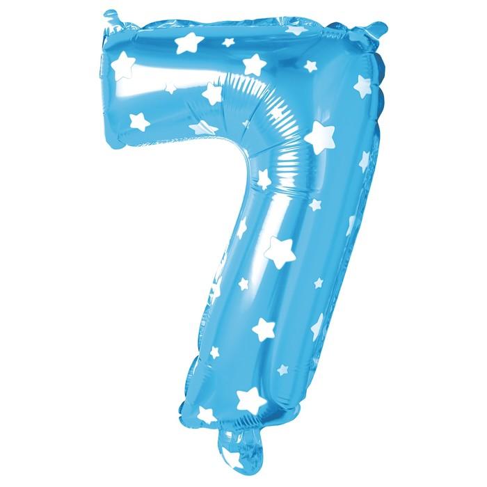"""Шар фольгированный 40"""", цифра 7, звезды, цвет голубой"""
