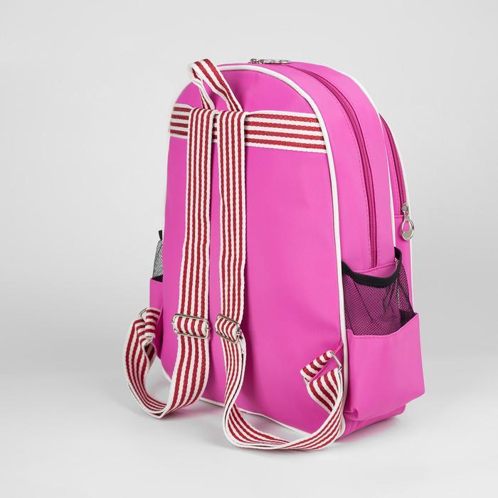 Рюкзак молодёжный, отдел на молнии, 3 наружных кармана, цвет розовый - фото 545265406