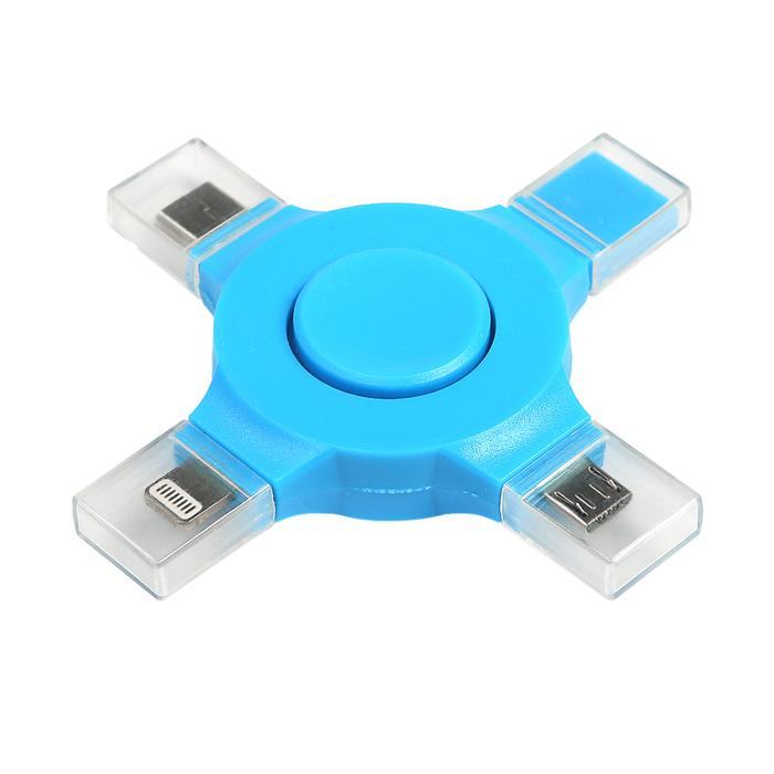 Разветвитель-спиннер для зарядки I5, I6, I7, microUSB, Type-C, провод в комплекте, микс