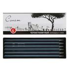 Набор художественных чернографитных карандашей «Сонет», 6 штук 6B, в лаке, цельнографитовые