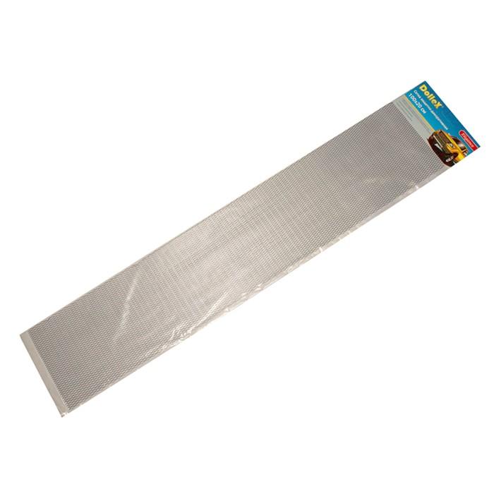 Сетка защитно-декоративная Dollex, алюминий, 100х20 см, ячейки 15х4,5 мм, серебро