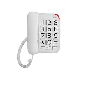 Телефон Texet TX 201, проводной, регулятор громкости, большие кнопки, белый Ош
