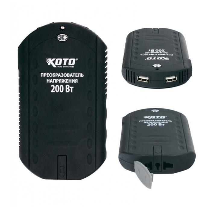 Преобразователь напряжения c 2 USB-портами, 200 Вт, 12 В DC -> 220 В AC