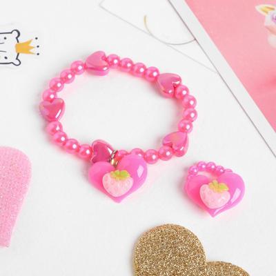 """Children set """"Vibracula"""" 2 pieces: bracelet, ring, heart"""