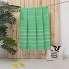 Полотенце пляжное пештемаль, размер 100х180 см, цвет светло-зелёный