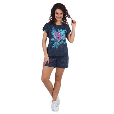 Комплект женский (футболка, шорты) Аджай цвет джинс, р-р 48