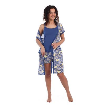 Комплект женский (пеньюар, майка, шорты) Лейсян цвет синий, принт сердца, р-р 46