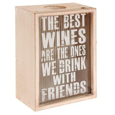 """Копилка дерево для винных пробок """"Лучшие вина"""" 18х12,5х8 см"""