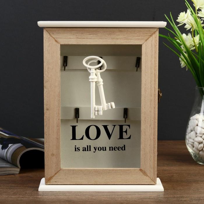 """Ключница дерево 5 крючков """"Ключи. Любовь"""" 26х19х6 см"""