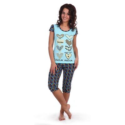Комплект женский (футболка, бриджи) 22б цвет синий, принт гусиная лапка, р-р 46