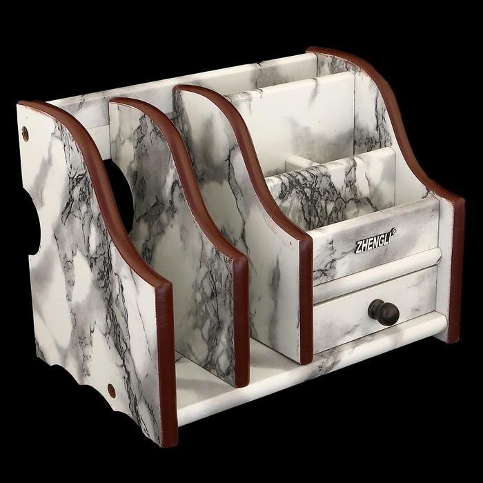 Органайзер, под серый мрамор, 6 секций (2 вертикальные слева)+1 маленький ящик 20*13 см