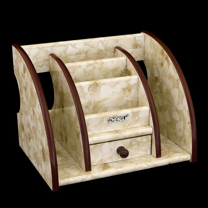 Органайзер, под желтый мрамор, 3 секции+2 секции сбоку+маленький ящик 21*16 см
