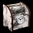 Органайзер, под серый мрамор, 3 секции+встроенные часы 11*9,5 см