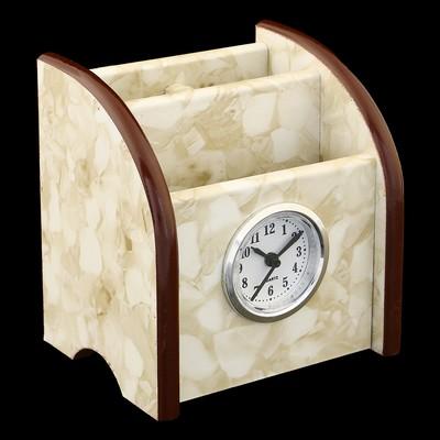 Органайзер, под желтый мрамор, 3 секции+встроенные часы 11*9,5 см