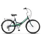 """Велосипед 24"""" Stels Pilot-750, Z010, цвет чёрный/зелёный, размер 16"""""""