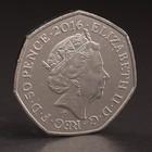 """Монета """"50 пенсов 2016 Великобритания 150 лет со дня рождения Беатрис Поттер, Клара Кряквуд   325944"""