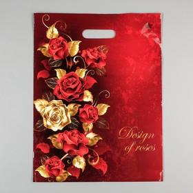 """Пакет """"Голден роуз"""", полиэтиленовый с вырубной ручкой, 31 х 40 см, 60 мкм"""