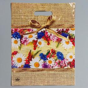 """Пакет """"Цветочный мешочек"""", полиэтиленовый с вырубной ручкой, 31 х 40 см, 60 мкм"""