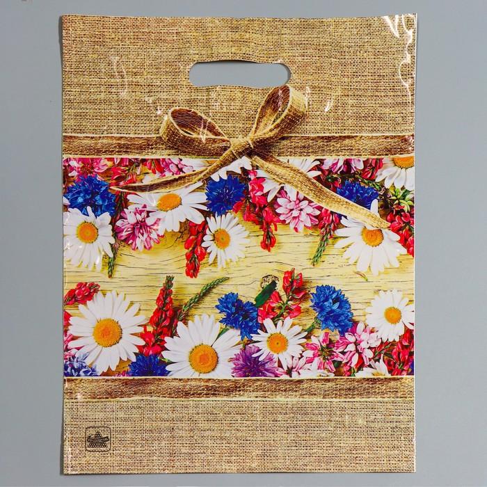 """Пакет """"Цветочный мешочек"""", полиэтиленовый с вырубной ручкой, 31 х 40 см, 60 мкм - фото 308291735"""