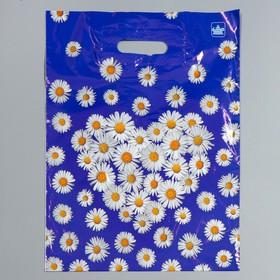 """Пакет """"Ромашки на синем"""", полиэтиленовый с вырубной ручкой, 31 х 40 см, 30 мкм"""