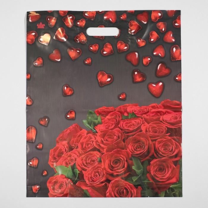 """Пакет """"Мармеладные сердечки"""", полиэтиленовый с вырубной ручкой, 38 х 45 см, 60 мкм - фото 308292090"""