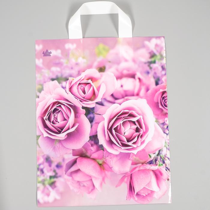 """Пакет """"Нежные розы"""", полиэтиленовый с петлевой ручкой, 35 х 28 см, 55 мкм - фото 308291738"""