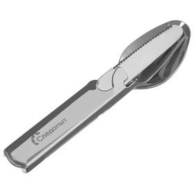 Набор столовых приборов туристический «СЛЕДОПЫТ», ложка, вилка, нож, открывашка