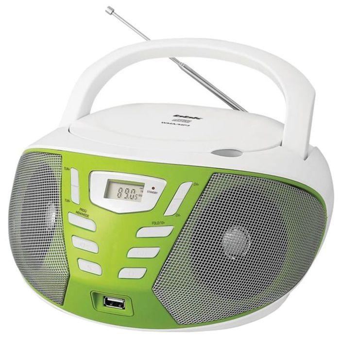 Аудиомагнитола BBK BX193U, 2 Вт, CD, CDRW, MP3, FM(dig), USB, белая/зеленая