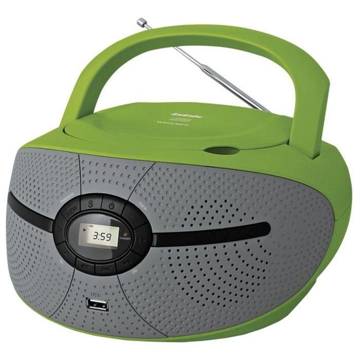 Аудиомагнитола BBK BX195U, 2 Вт, CD, CDRW, MP3, FM(dig), USB, зеленая/серая