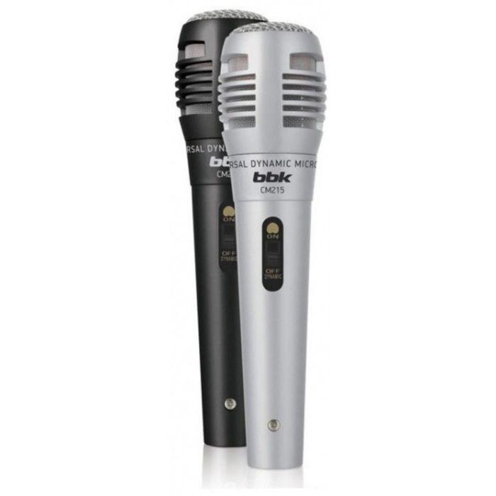Микрофон проводной BBK CM215, 2.5 м, динамический, вокальный, черный/серебристый