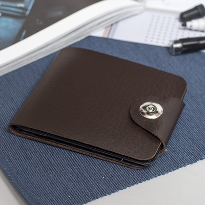 Purse male, 2 Department of cards, a magnet, coffee color