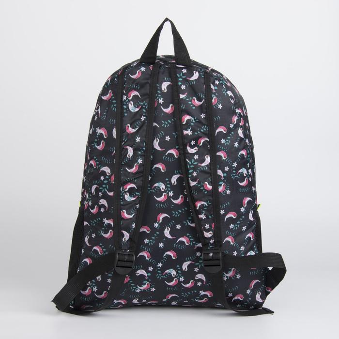 Рюкзак складной, отдел на молнии, наружный карман, 2 боковые сетки, цвет чёрный - фото 450134185
