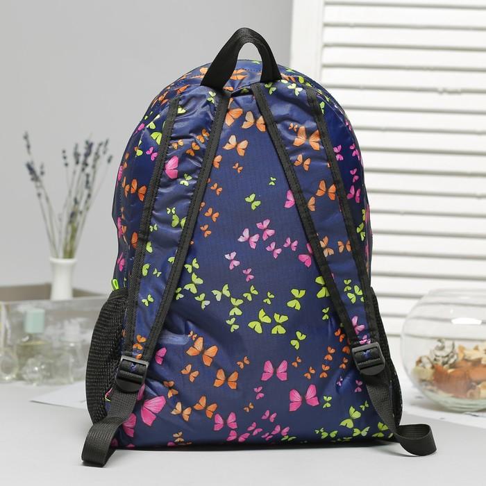 Рюкзак складной, отдел на молнии, наружный карман, 2 боковые сетки, цвет тёмно-синий - фото 440968506