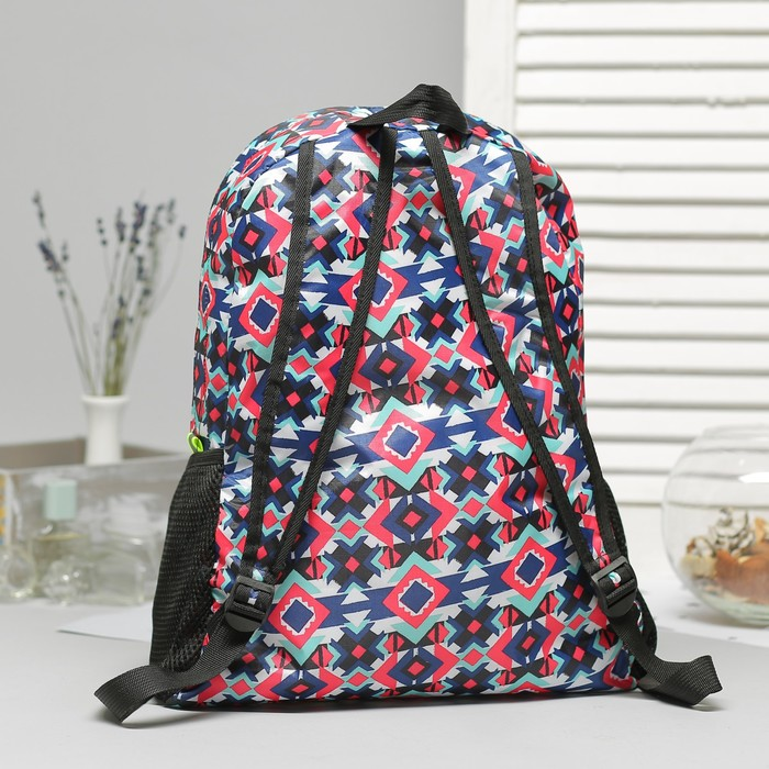 Рюкзак складной, отдел на молнии, наружный карман, 2 боковые сетки, цвет разноцветный - фото 415622685