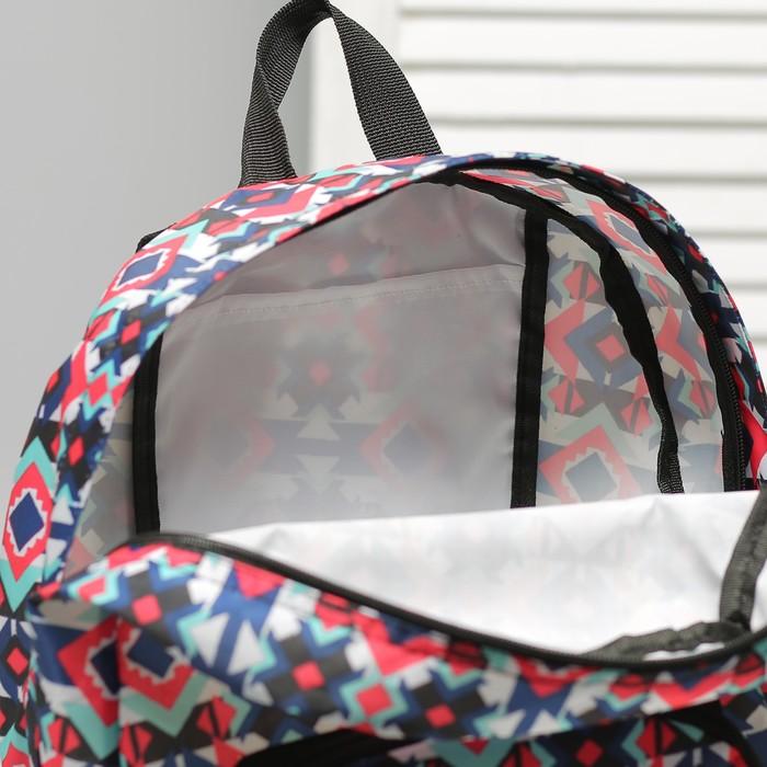 Рюкзак складной, отдел на молнии, наружный карман, 2 боковые сетки, цвет разноцветный - фото 415622687