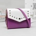 Bag children, 2 Department flap, long strap, color white/purple