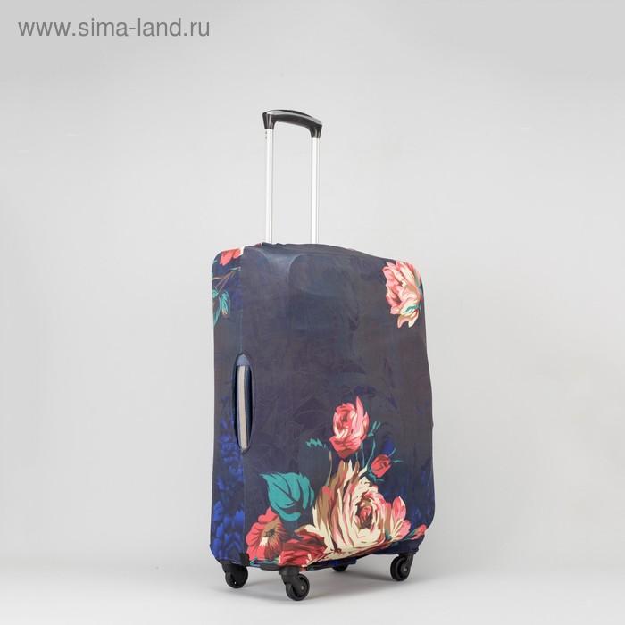 """Чехол для чемодана «Цветы» 20"""", цвет чёрный"""