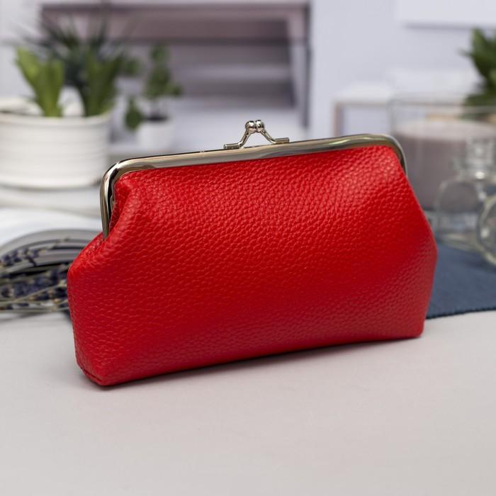 Косметичка-фермуар, отдел на рамке, цвет красный