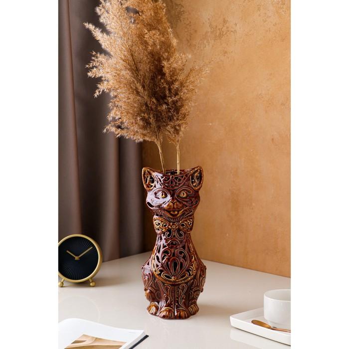 """Ваза настольная """"Кот"""", резка, 31 см, керамика"""