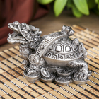"""Нэцкэ полистоун серебро """"Драконочерепаха с жезлом Жуи"""" 5,5х7х5,5 см"""
